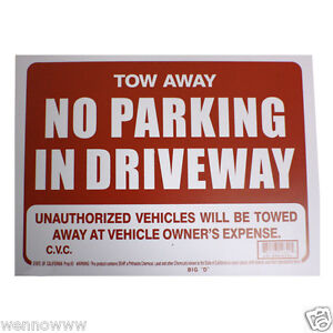 "2 Pcs 9 x 12 Inch Red & White Flexible Plastic "" No Parking in Driveway"" Sign"
