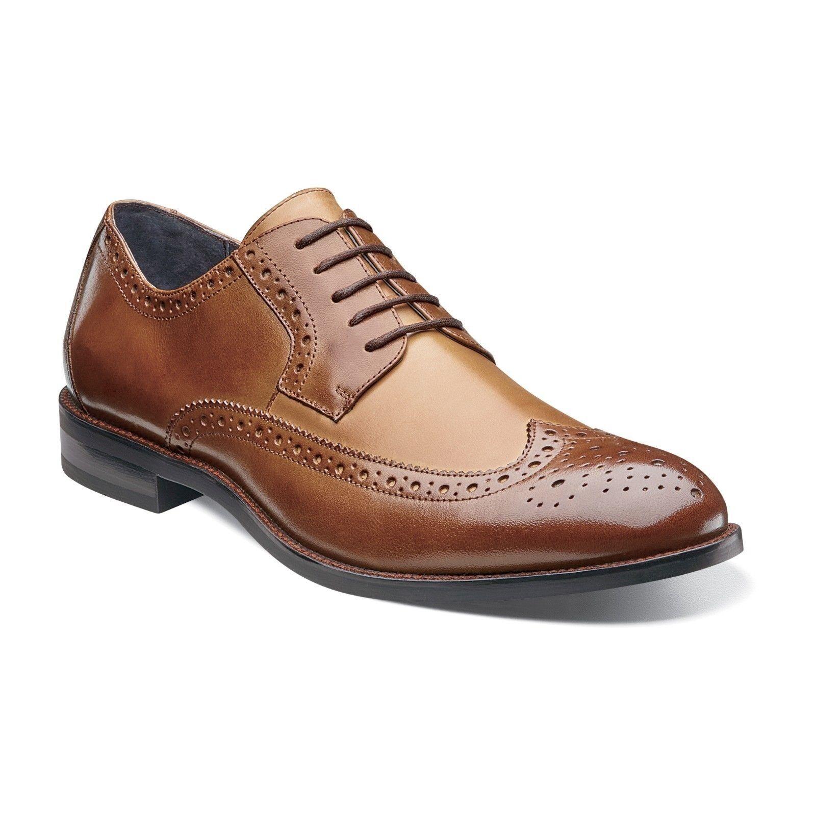 Stacy Adams Uomo Brown & Cognac Garrison Pelle Wing Tip Lace Up Dress Shoe