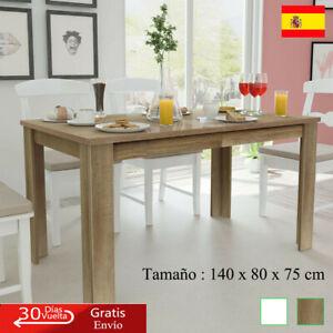 Detalles de Mesa de Salón Comedor Rectangular de Madera Aglomerada  Marrón/Blanco 140x80x75cm