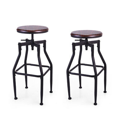 Incredible Set Of 2 Swivel Bar Stool Adjustable Wood Metal Design Bistro Chair Industrial Gmtry Best Dining Table And Chair Ideas Images Gmtryco