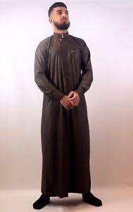 Mens-Designer-034-The-Man-034-Premium-Slim-Fit-Shiny-Brown-Cuff-Jubbah-Thobe