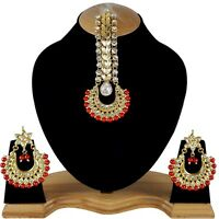 Royal Gold Plated Original Meena Kundan Handmade Meenakari Big Earrings & Tikka