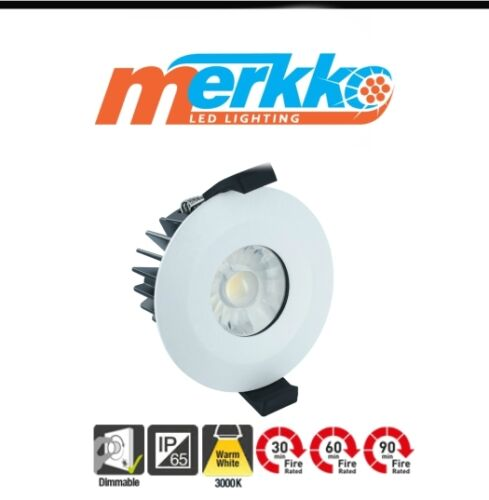 LED Downlights Fire Rated IP65 Dimmable Ceiling Spotlights Recessed Chrome Warm