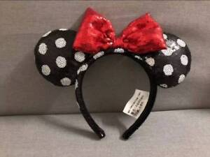 Disney-Parks-Minnie-Mouse-Red-Black-white-dot-Sequin-Headband-Ears-Costume-Bow