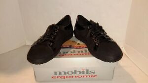 NEW-Mobils-ergonomic-LENZA-US-8-black-patent-leather-suede-bucksoft-NIB-228