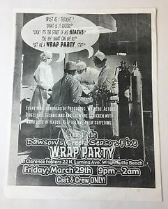 DAWSON-039-S-CREEK-set-used-SEASON-5-WRAP-PARTY-FLIER