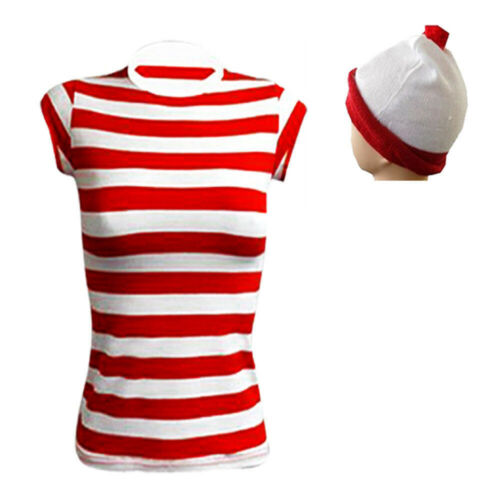 New Men/'s Women/'s outfit Red /& White Fancy Dress Kit Set Book Week Day costume