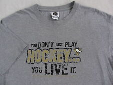 """NHL Pittsburgh Penguins Men's S/S Gray """"Don't Just Play Live It"""" T Shirt - XL"""