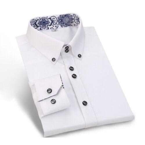 New Mens Silk Cotton Shirts Casual Slim Formal Dress Casual No Ironing EC6320
