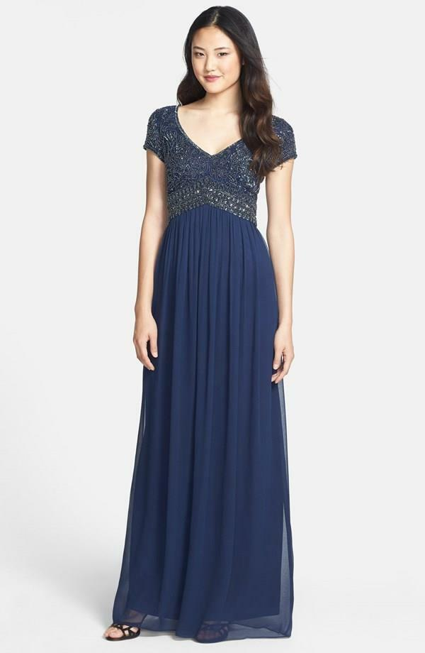 Adrianna Papell Navy  Embellished Cap Sleeve Gown- Größe 6 (F)