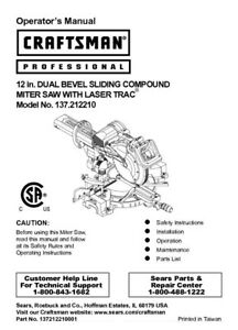craftsman 137 212210 miter saw owners instruction manual ebay rh ebay com Craftsman Band Saw Manual craftsman 10 miter saw owner's manual