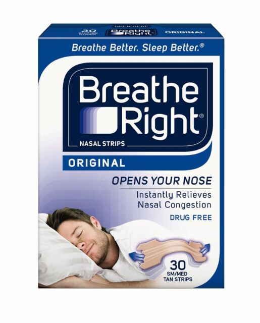 Paquete de 2 Breathe Right Nasal Tiras Original Bronceado Pequeño/Mediana