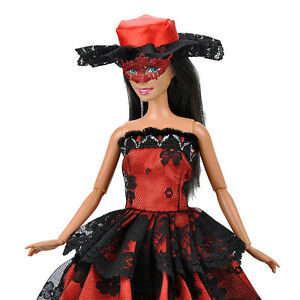 Princess Wedding Dress Dolls Clothes Black Lace Dress For 29cm Barbie Dolls Gift