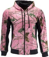 Women- Ladies Full Zip Camo & Pink / Rose Hoodie Hooded Sport Sweatshirt Jacket