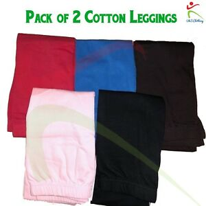 Girls-Ankle-Length-Stretch-Fit-Cotton-Leggings-Assorted-Colour-Regular-2-PACK