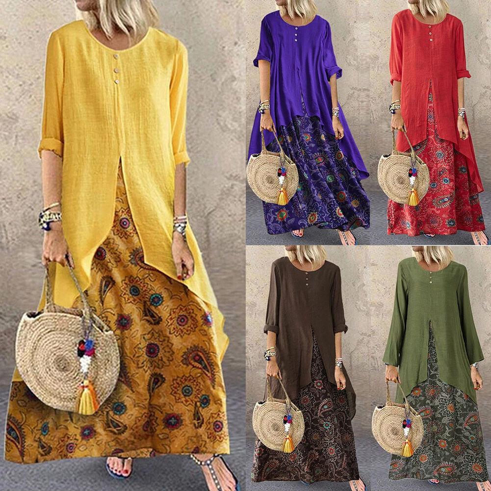 US Women Cotton Linen Maxi Dress Long Sleeve Casual Boho Kaftan Tunic Plus Size