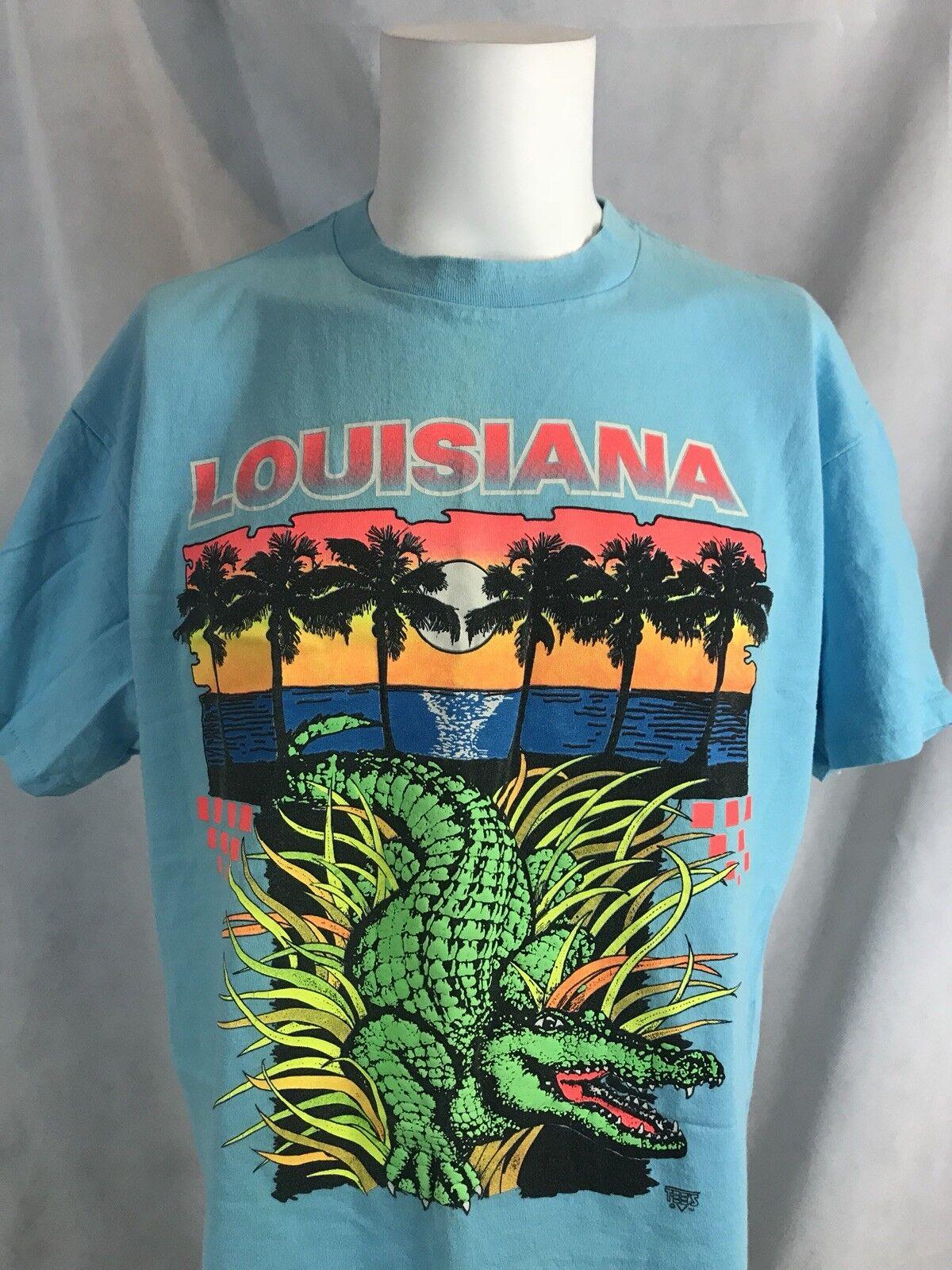 VTG Louisiana Alligator Swamp Beach Palm Trees bluee Cotton Delta Tourist Tee XL