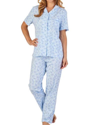 Womens Jersey Cotton Flower Pyjamas Set Slenderella Floral Short Sleeved PJs
