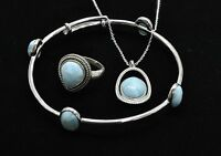 Larimar Bracelet,ring & Necklace (wholesale) Premium .925 Sterling Silver