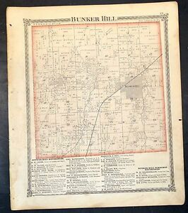 Bunker Hill Illinois Map.Original 1875 Map Of City And Township Of Bunker Hill Illinois 18 5