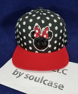 a66710ee178 NEW Disney Minnie Mouse Sequin Red Black   White Polka Dot Cap Snap ...