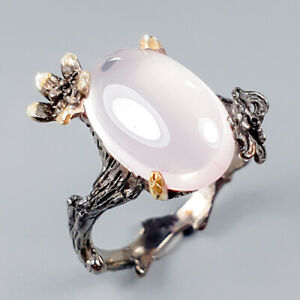 Handmade-Natural-Rose-Quartz-925-Sterling-Silver-Ring-Size-7-5-R120586