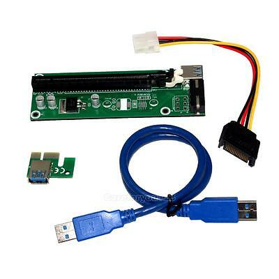 New PCI-E x1 to x16 Aadapter Riser Card USB 3.0 Extender Cable SATA Powered 50cm