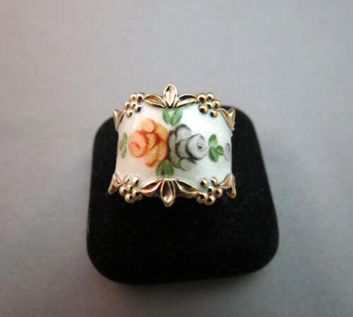 Sterling Silver Rose Flower Ring Guilloche Roses Enamel ESPO Sz 7 Vermeil Nice!