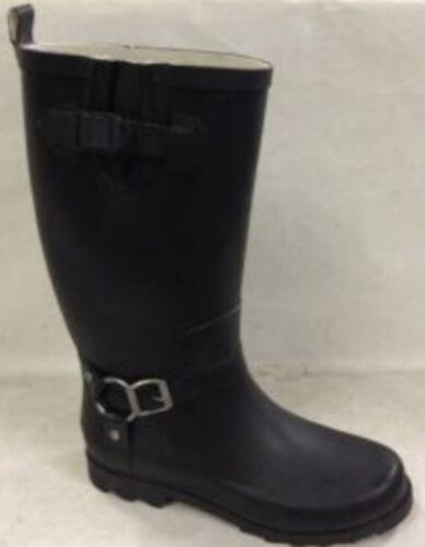 Rain Boots Ladies Harness Rubber Rain Boot Black