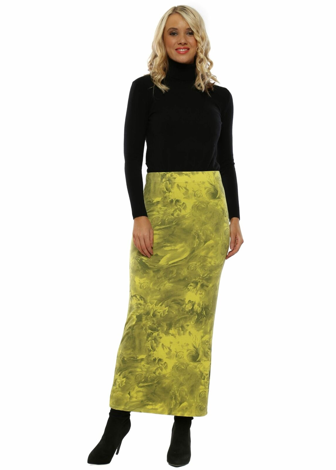 A Postcard From Brighton Faith golden Lime Frosted Flowers Jersey Skirt