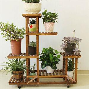 Wood-Flower-Plant-Stand-Pot-Shelf-3-Tiers-Bonsai-Display-Storage-Rolling-Rack