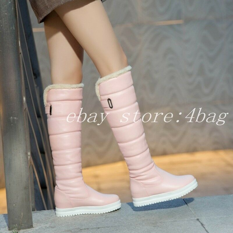 Womens Snow Snow Snow Knee High Boots Fur Lining Round Toe Pull On Winter shoes Waterproof 3a65cc