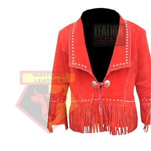 AMERICAN-WESTERN-STYLE-1059-RED-STUDDED-FRINGE-BEADED-SUEDE-LEATHER-JACKET