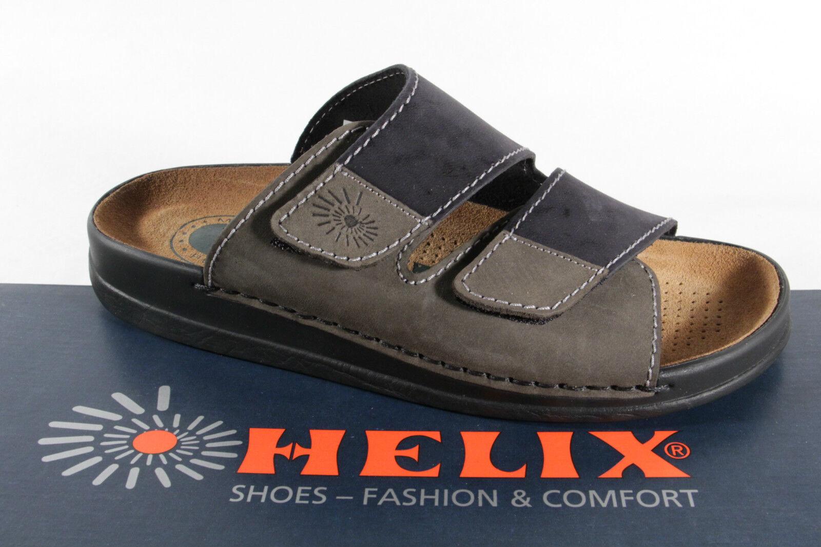 Helix Herren Pantoletten Clogs Pantolette Pantoffel schwarz/grau  54131 Leder