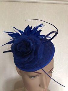7b687e1a750 Image is loading Royal-Cobalt-Blue-Headband-Fascinator-Hatinator -Wedding-Ladies-