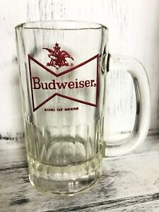 Anheuser-Busch-BUDWEISER-Red-Bowtie-BEER-MUG-GLASS-STEIN-King-Of-Beers-VTG