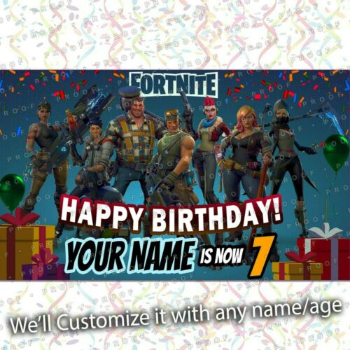 Video Game Birthday Banner Personalized Custom Party Backdrop kid