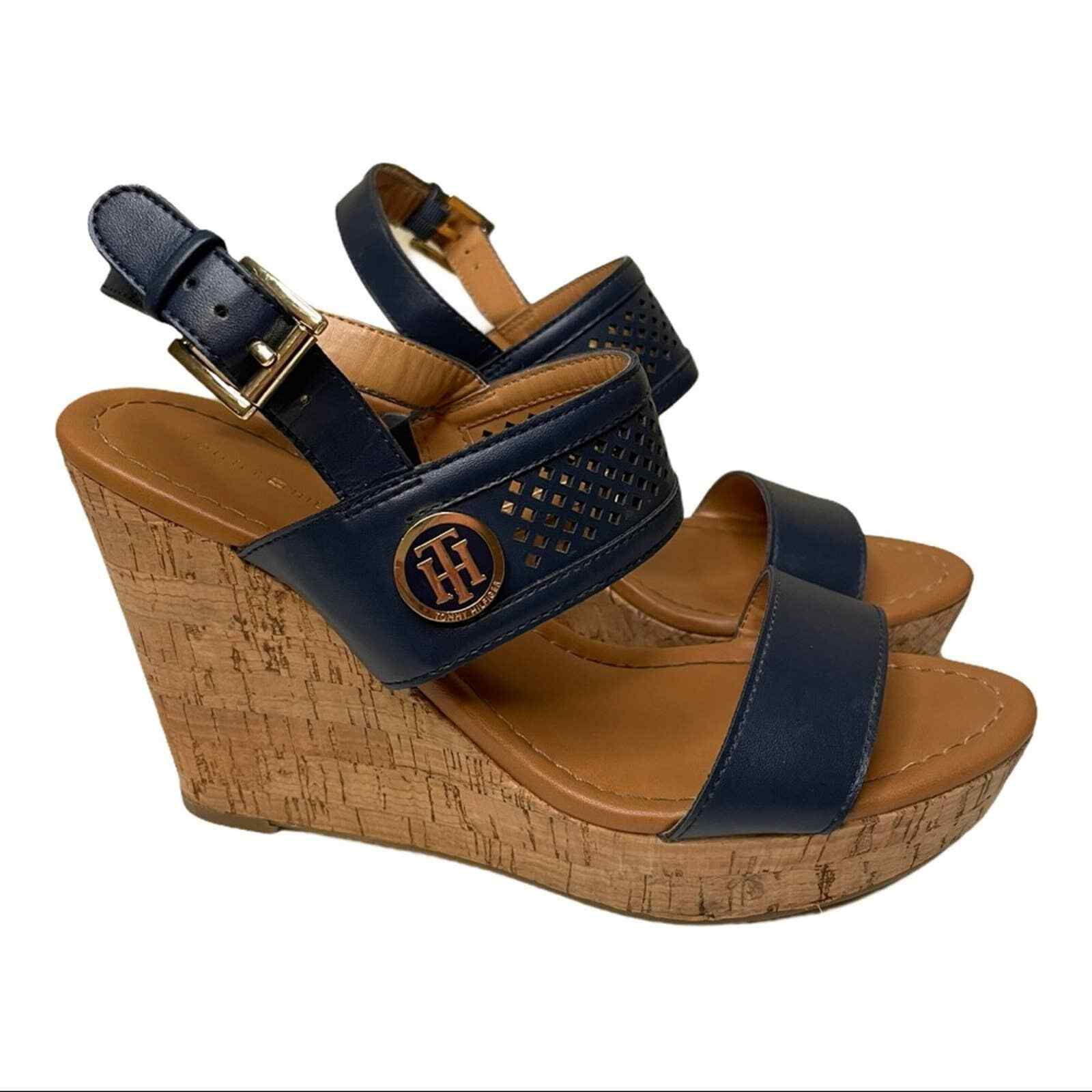 Tommy Hilfiger Navy Cork Wedges with Gold Logo Si… - image 1