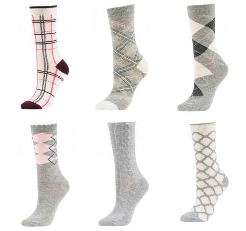 Lot of 6 Pairs Women Comfort Pattern Plaid Plain Stripes Crew Pack 9-11 Socks
