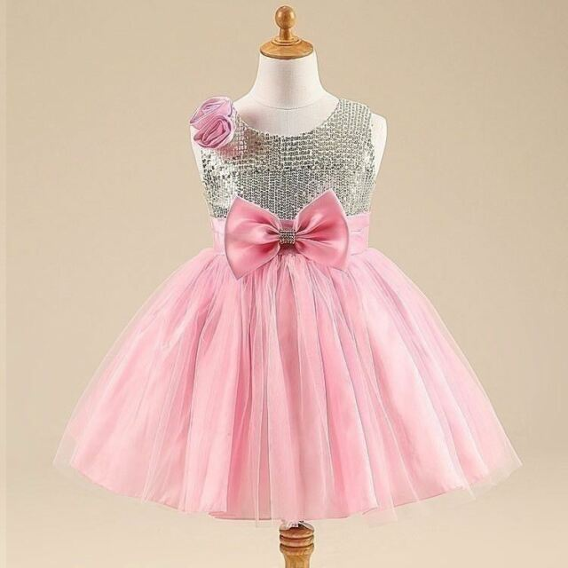 f171c30bb00 New Sparkly Sequin Party Kids Clothes Pink Girls Dress Occasion Birthday  Wedding