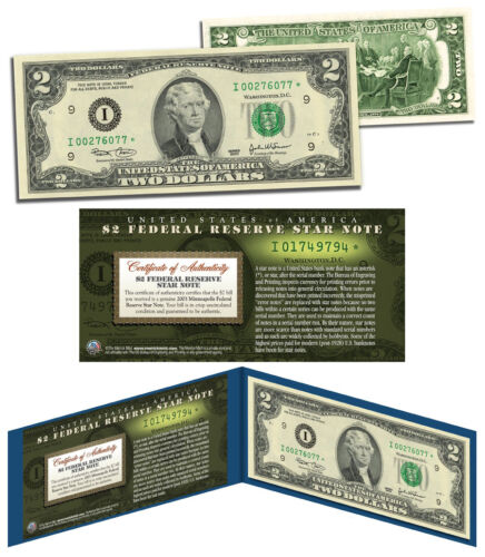 2003 $2 Minneapolis I* BEP Uncirculated Rare Star Note w//Folio /& Certificate COA