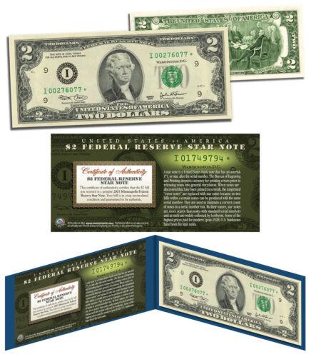 2003 $2 Minneapolis I* BEP Uncirculated Rare Star Note w//Folio /& Certificate COA