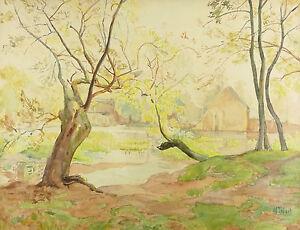 Paesaggio-Lago-Grande-Acquerello-circa-1900-Numero-da-Spalla-Cornice-Originale