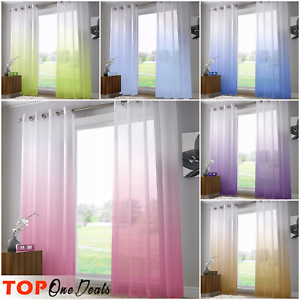 Amazing Tulle 3D Ombre Printed Voile Curtains Ready Made Novelty Ring Top New