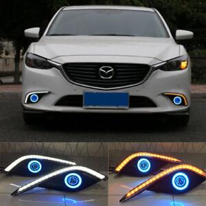 Fog Lamp Assembly Led Day Light Cob Angel Eyes Foglight Daytime Running Light Lens Bumper Complete Set For Mazda 6 2004-2006 Car Light Assembly Automobiles & Motorcycles