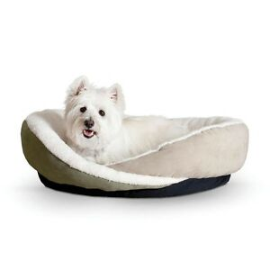 KH-Mfg-Huggy-Nest-Dog-Cat-Pet-Bed-Small-Green-Tan-22-034-x-19-034-x-6-034
