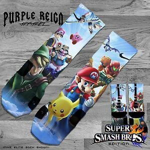 "Wii U ALL SZ NIKE RETRO JORDAN /""SUPER SMASH BROS/"" Custom Nike Elite Socks"