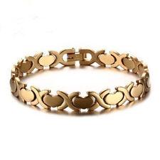 Womens Stainless Steel Gold Heart X-Link Chain Love Bangle Bracelet + Box #BR271