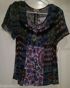 One-World-NWT-Woman-039-s-Petite-Multi-Color-Floral-Paisley-w-Beads-Shirt-Size-PM