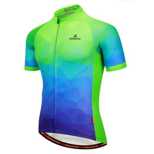 Men/'s Blue-Green Cycling Biking Jersey Top Reflective Bicycle Bike Shirt Jersey